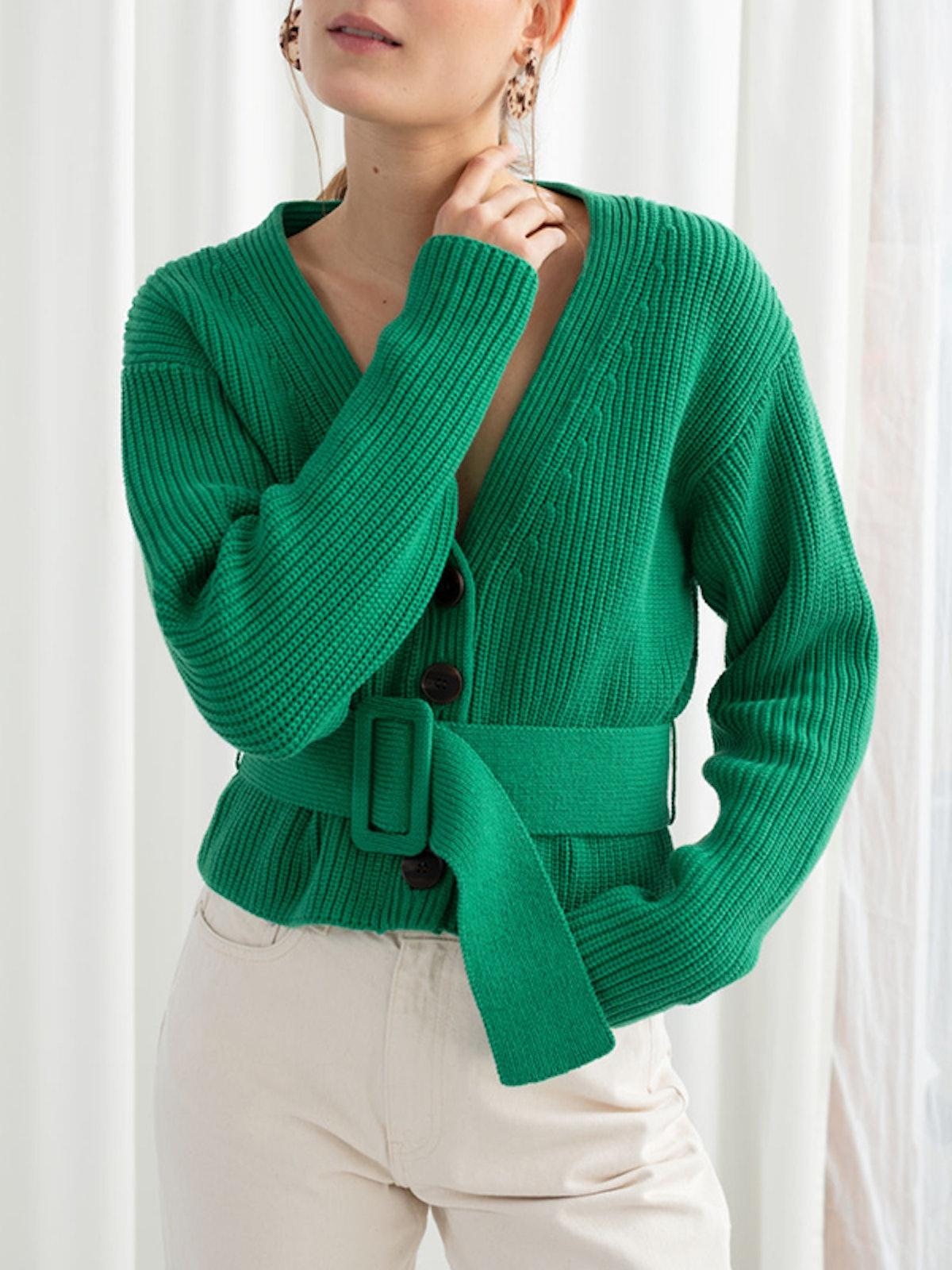 Belted V-Neck Cotton Cardigan