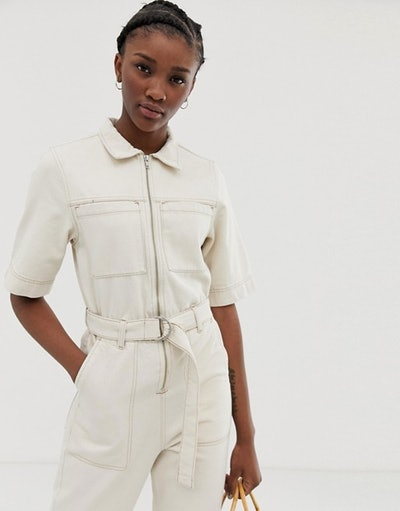 Weekday denim boilersuit in ecru