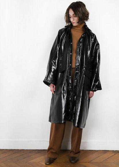 Black Patent Hooded Jacket