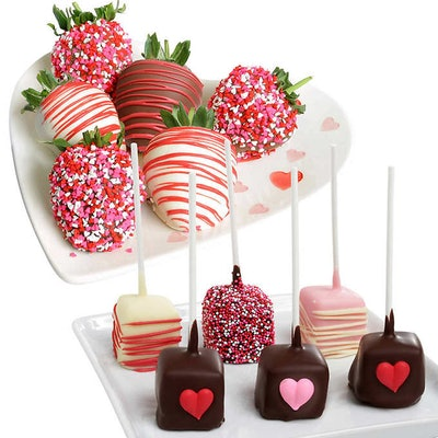 Valentine's Day Belgian Chocolate Covered Strawberries & Cheesecake Combo, 12 pieces