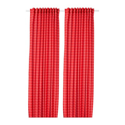 ROSALILL Curtains, 1 Pair, Red/White