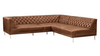 Savile Dark Saddle Leather Tufted Sectional Sofa