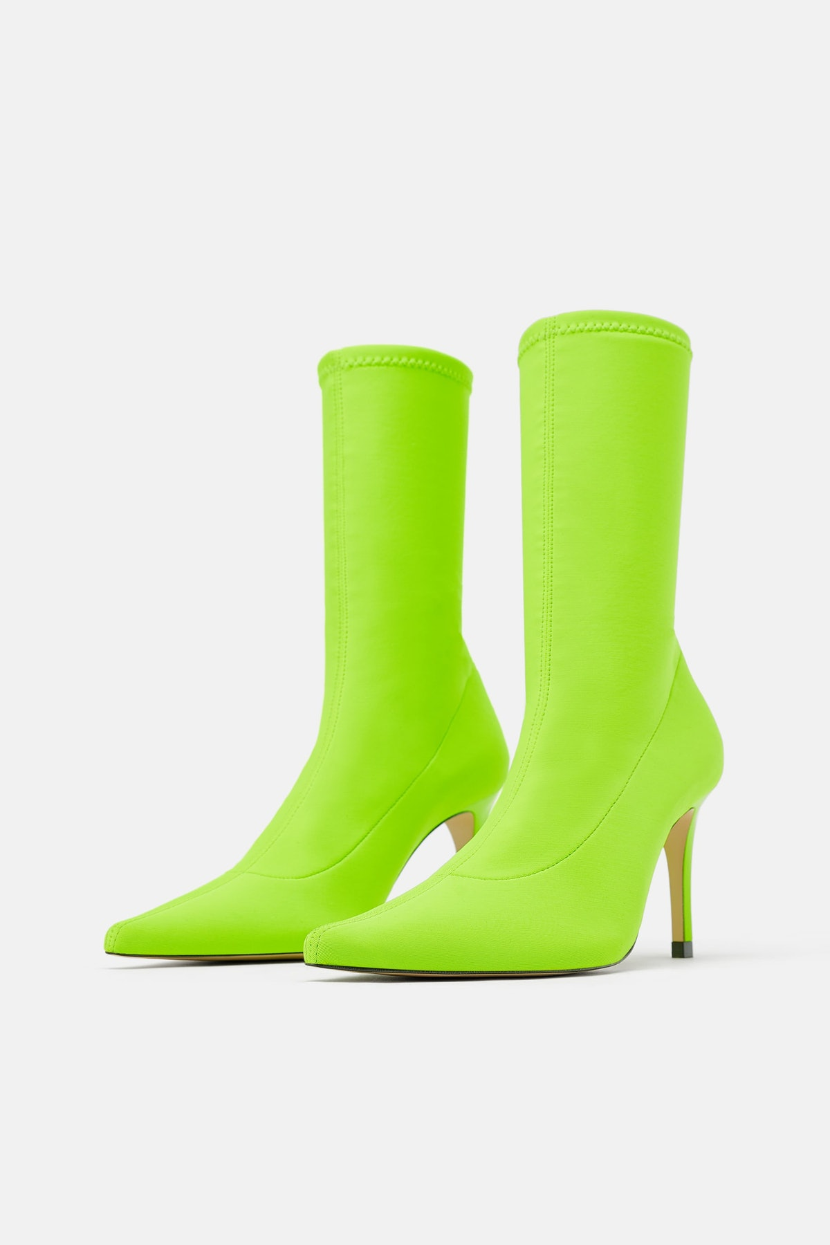FLUORESCENT SOCK STYLE HEELED ANKLE BOOTS