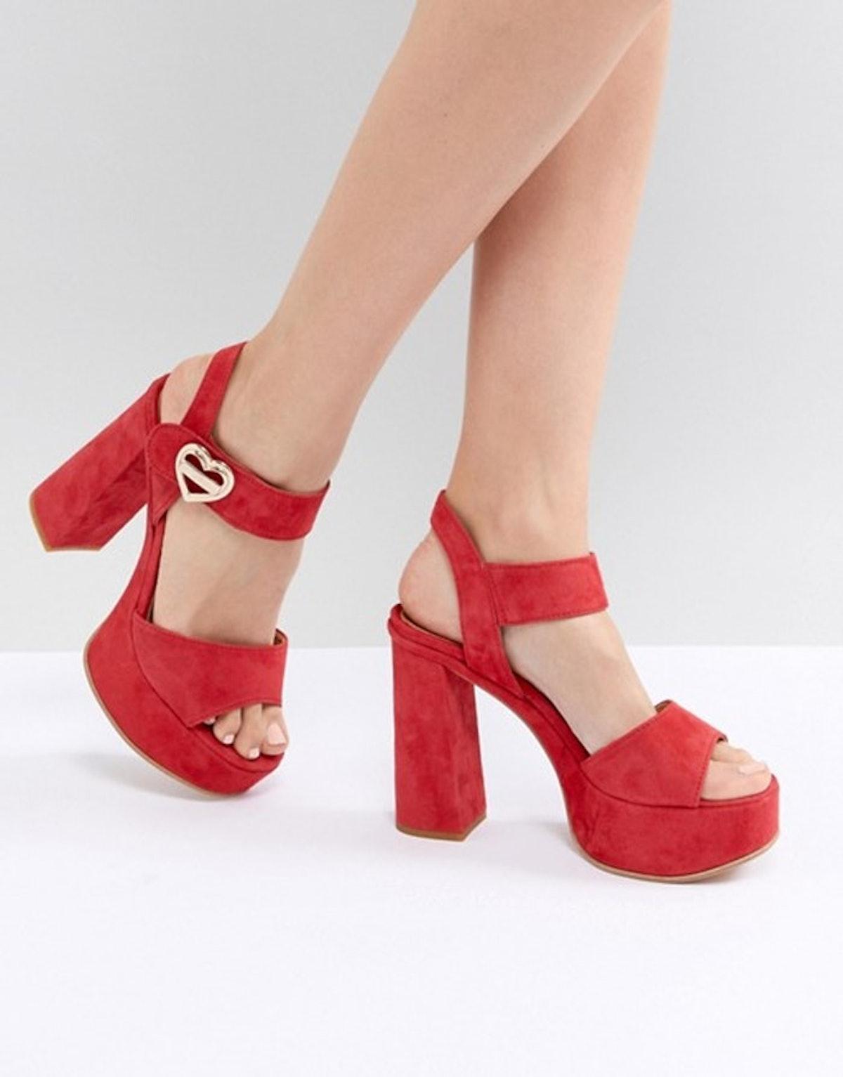 Love Moschino Heart Buckle Heeled Platform Sandal