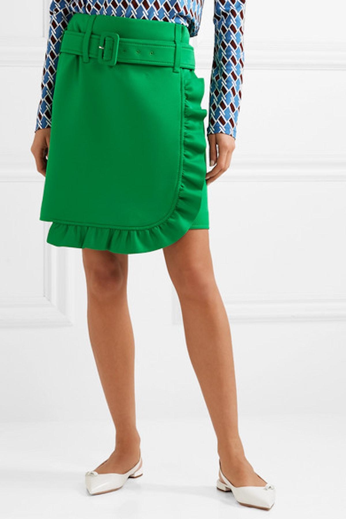 Belted Ruffled Tech-Jersey Mini Skirt