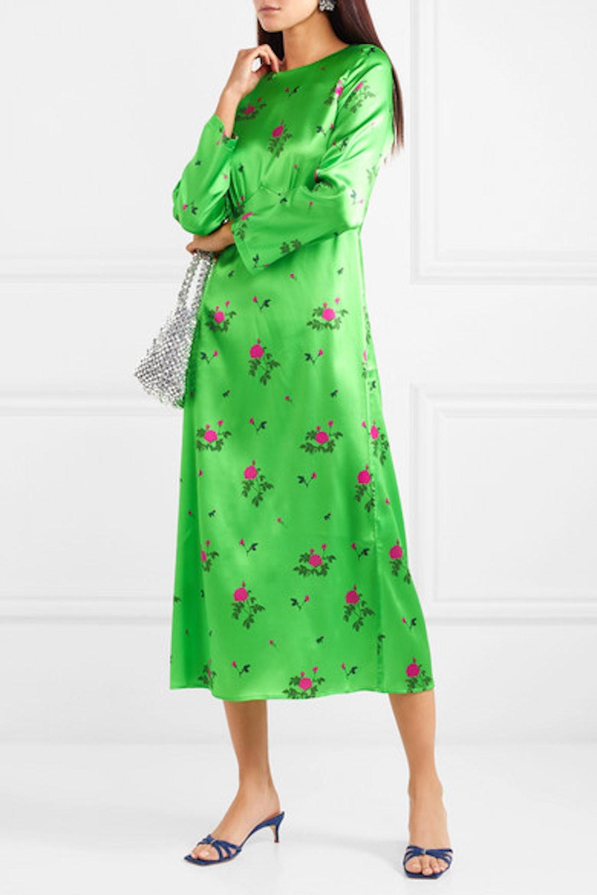 Neon Floral-Print Silk-Blend Satin Midi Dress