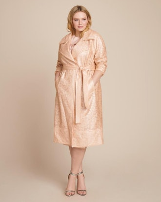 YIGAL AZROUËL Laminated Lace Trenchcoat
