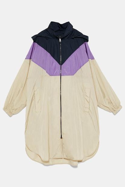 Packable Block Color Raincoat