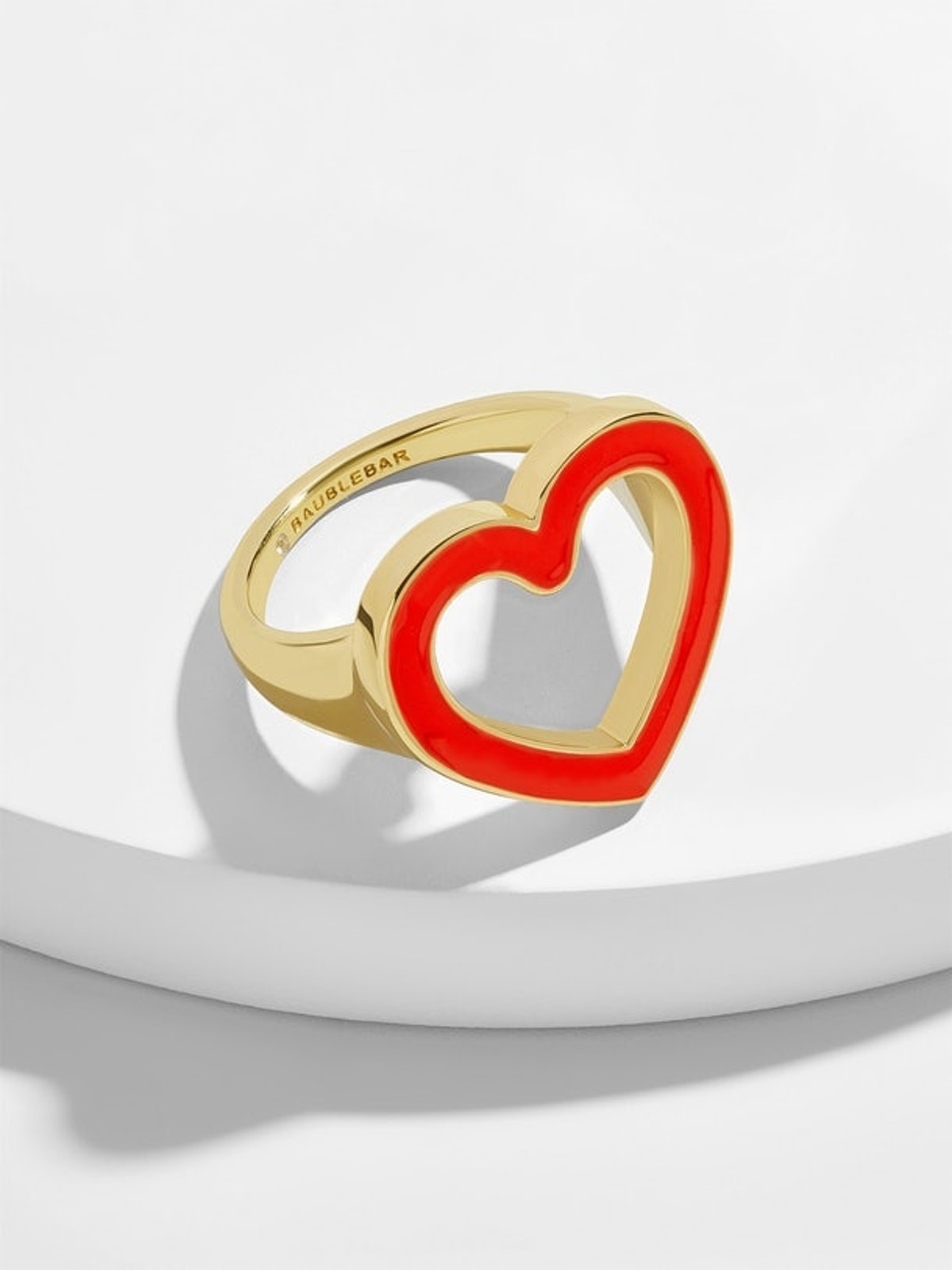 Ambre Heart Statement Ring in Red