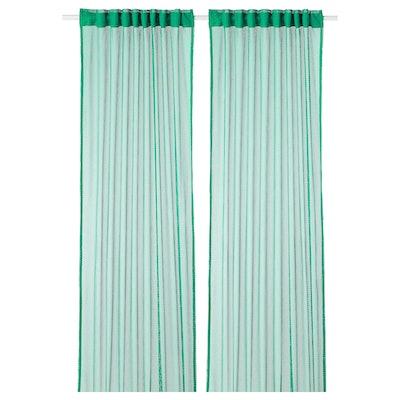 GRÅTISTEL Lace curtains, 1 Pair, Green
