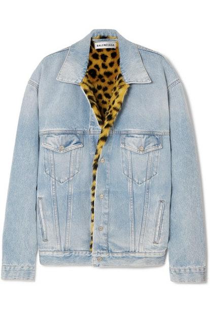 Oversized Faux-Fur Lined Denim Jacket