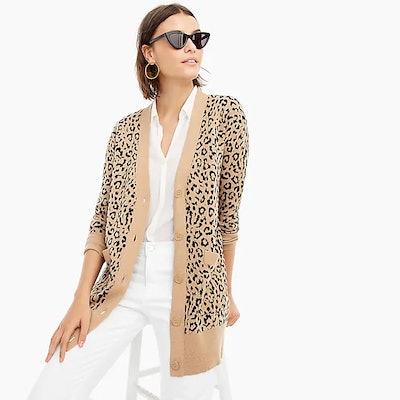 V-Neck Cardigan Sweater In Leopard Jacquard