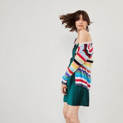 Multi Stripe Rib Cardigan