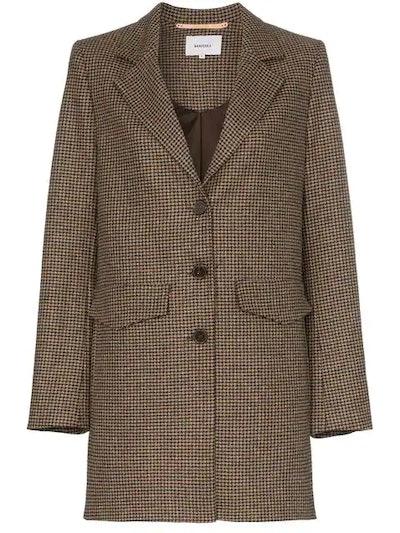 Demi Single Breasted Houndstooth Wool Silk Blend Blazer