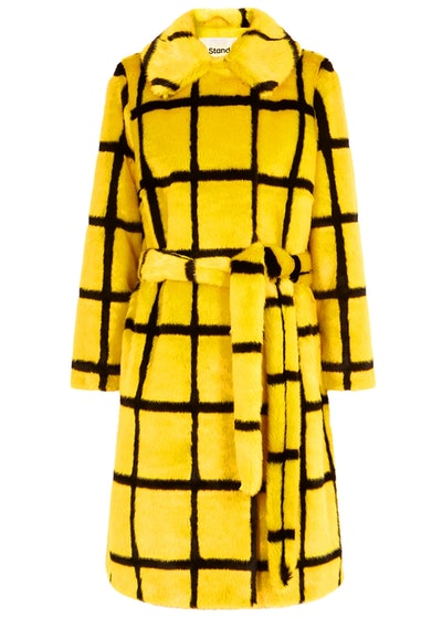 Irna Checked Faux Fur Coat