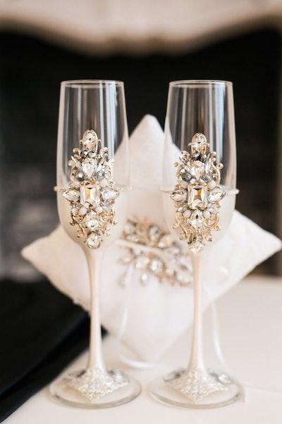 White wedding glasses