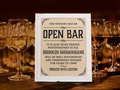 Wedding open bar sign
