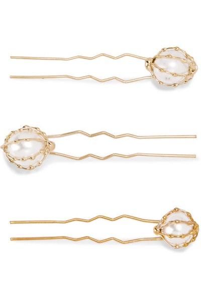 Set of Three Gold-Tone Faux Pearl Hair Pins