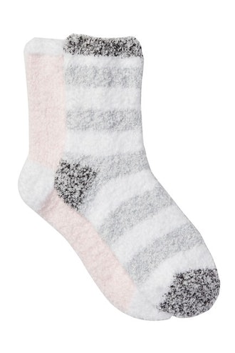 Free Press Patterned Micro Crew Fuzzy Socks - Pack of 2