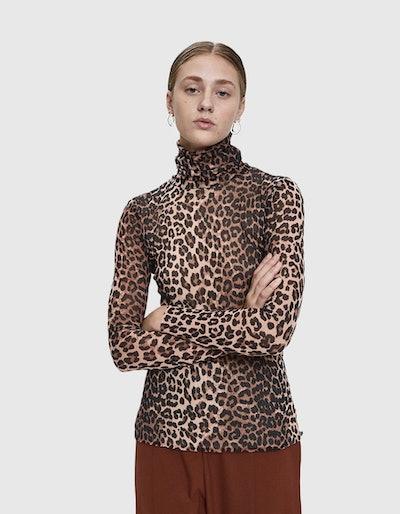 GANNI Leopard Print Mesh Turtleneck