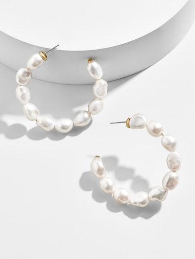 Dafina Pearl Hoop Earrings