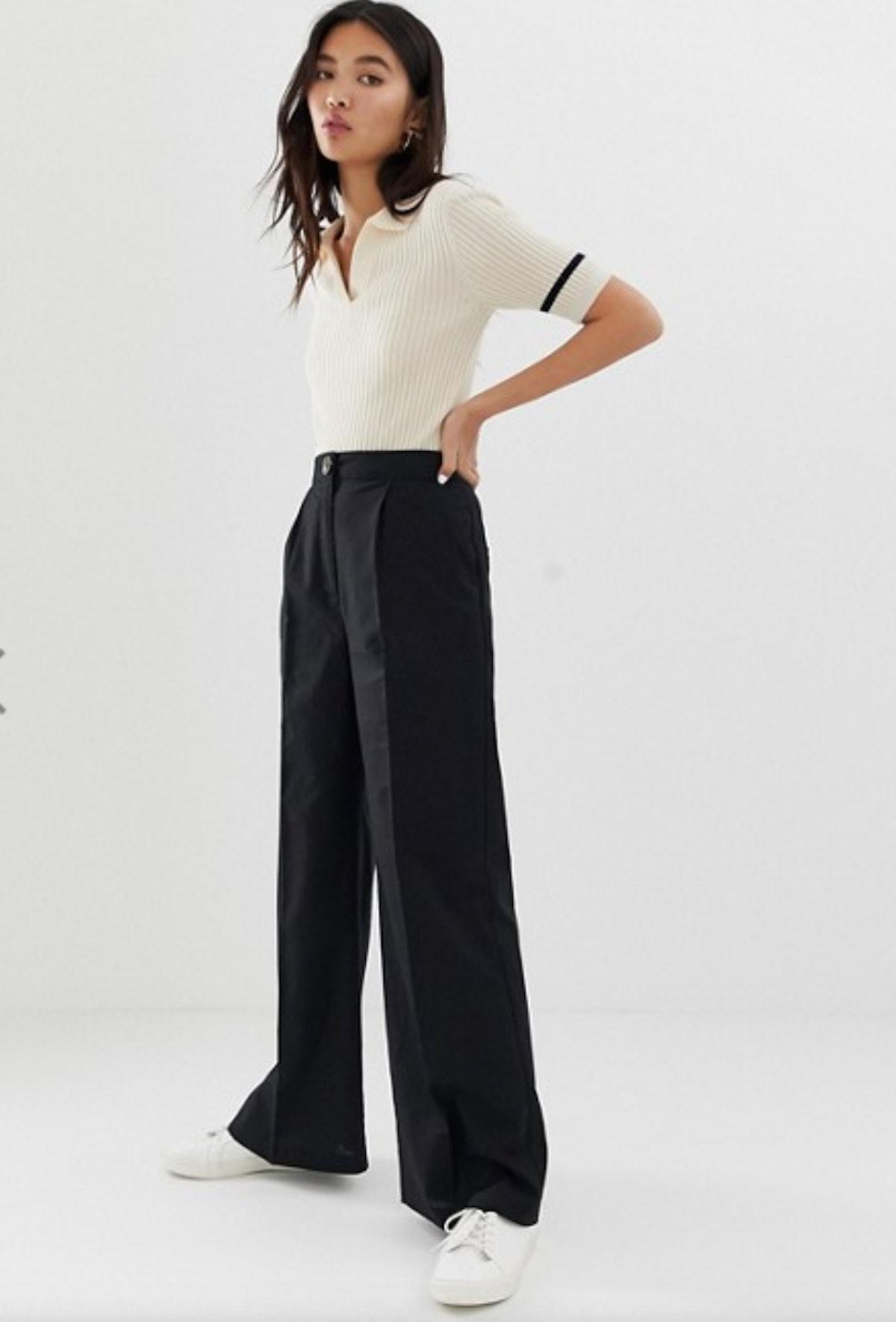 ASOS DESIGN linen wide leg pants with horn button