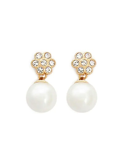 Floral Rhinestone and Faux Pearl Drop Earrings