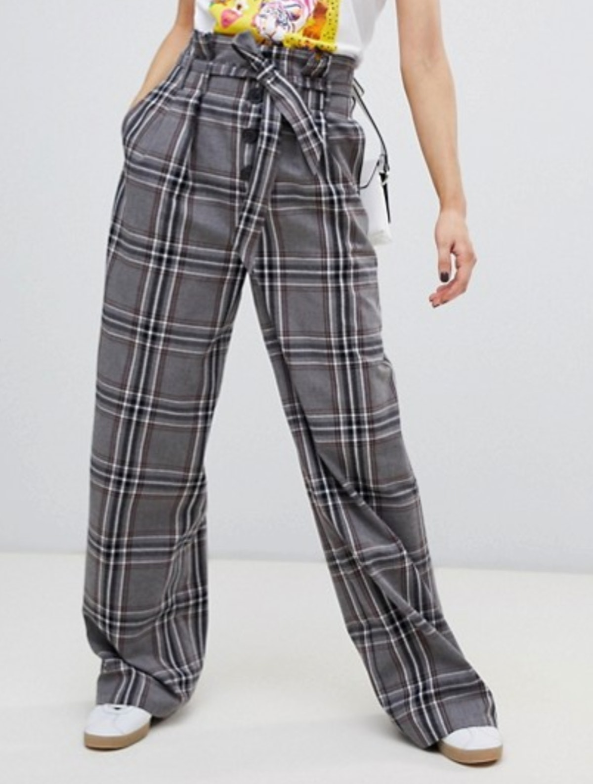 Stradivarius check wide pants with tie waist detail