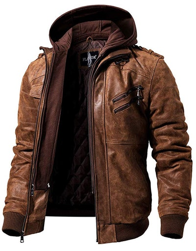 Flavor Brown Leather Motorcycle Jacket With Removable Hood