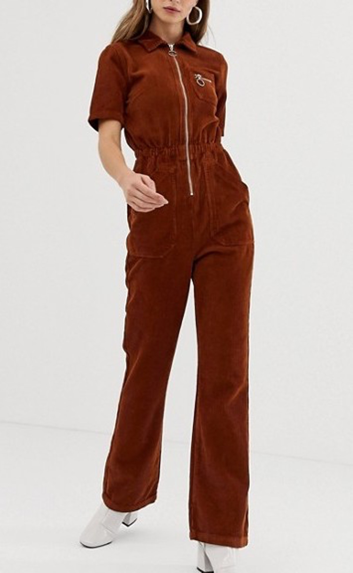 Cord '70s Boilersuit With Flare In Chocolate