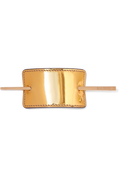 Gold-Tone and Metallic Leather Hairclip