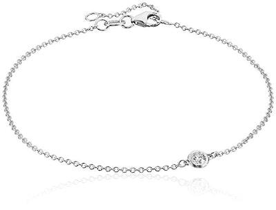 14k Gold Solitaire Bezel Set Diamond with Lobster Clasp Strand Bracelet