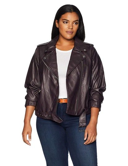 Levi's Women's Plus Size Faux Leather Asymmetrical Belted Motorcycle Jacket