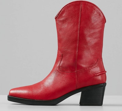 Simone Red Leather Boots