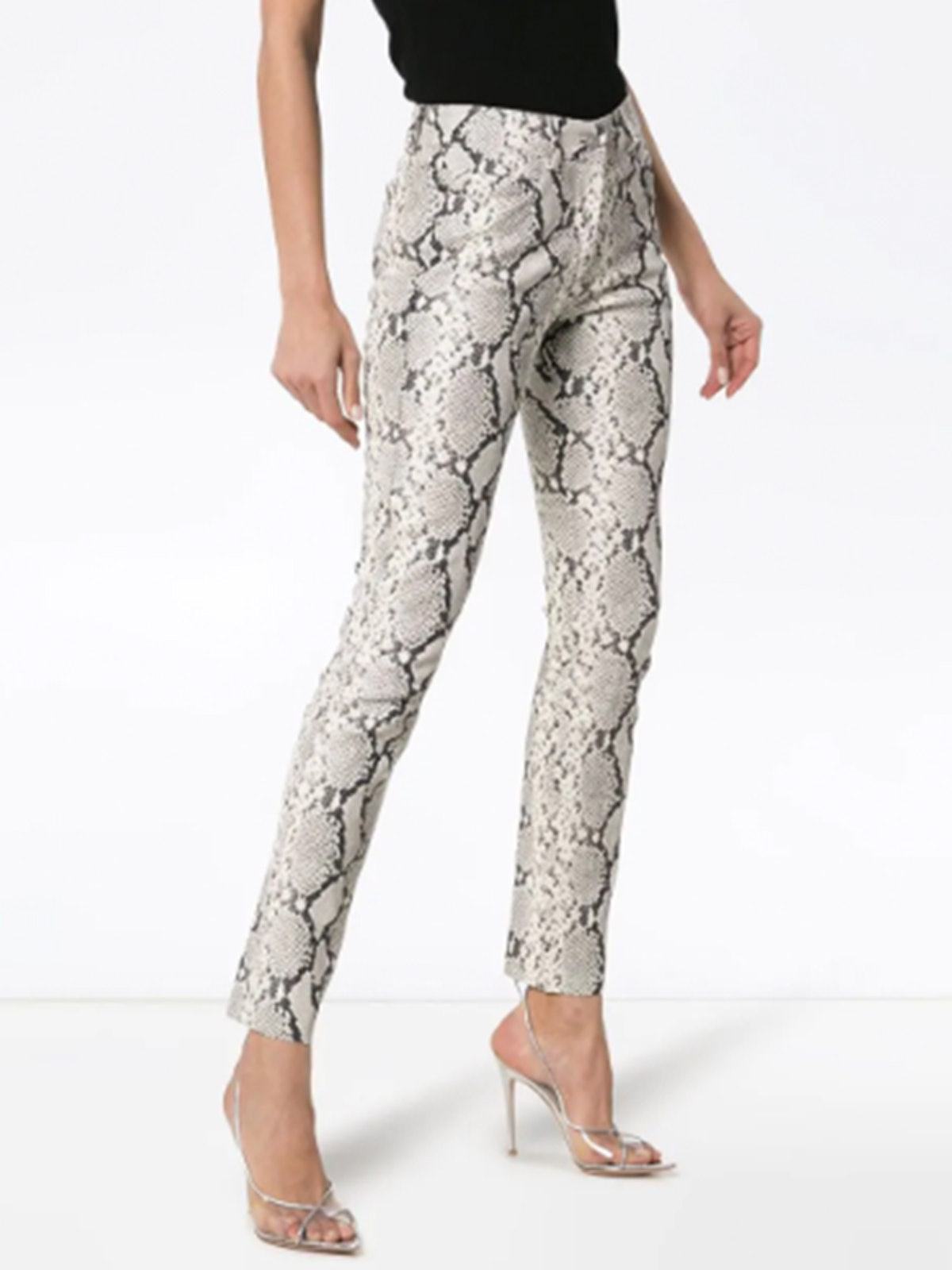 Leather Snakeskin Print Trousers