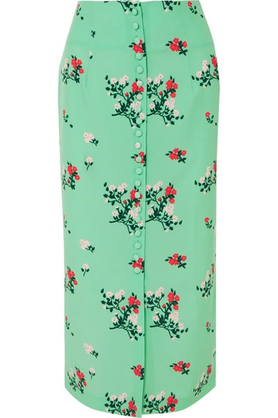 Floral Print Crepe de Chine Skirt