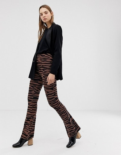Flare Trousers In Dark Tiger Print