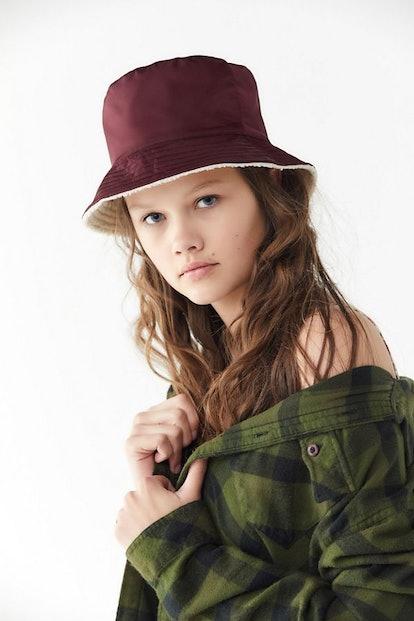 Nylon + Sherpa Reversible Burgundy Bucket Hat