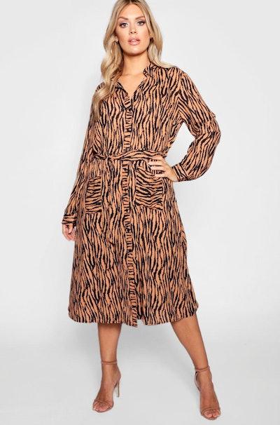 Plus Tiger Printed Shirt Midi Dress