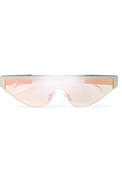 Shield D-Frame Crystal-Embellished Acetate Mirrored Sunglasses