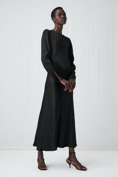 Long-Sleeved Satin Dress