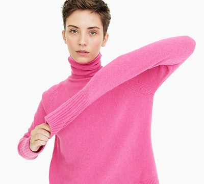 Turtleneck Sweater With Side Slits in Supersoft Yarn