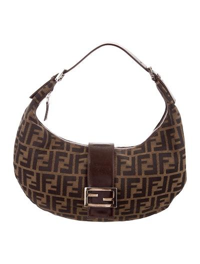 FENDI Leather-Trimmed Zucca Baguette Hobo
