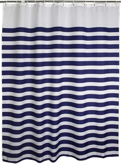Welwo Shower Curtain, Blue-White Stripe, 72 by 78 Inches