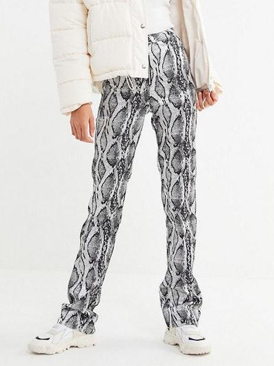 Slater Snake Print Zip-Front Pant