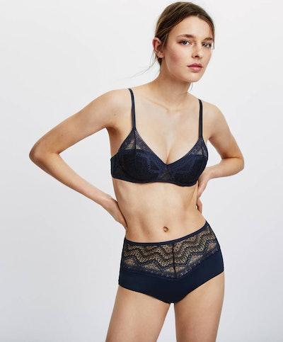 Oysho Classic geometric lace bra