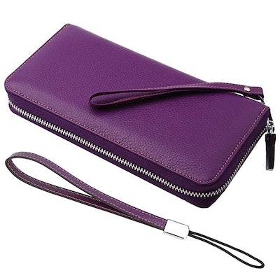 Lavemi Women's RFID Blocking Leather Zip Around Wallet Clutch