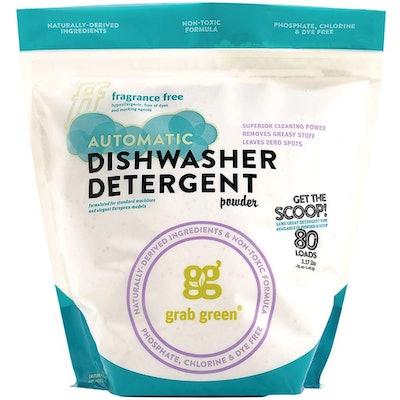 Grab Green Natural Automatic Dishwashing Detergent Powder, Fragrance-Free, 80 Loads