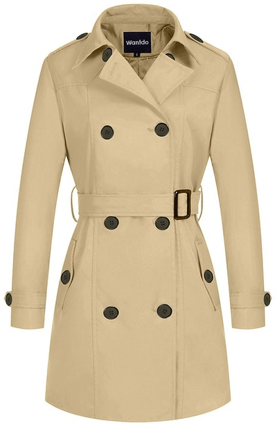 Wantdo Women's Double-Breasted Trench Coat