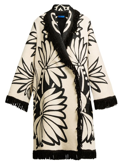 Palm Intarsia Tasseled Coat